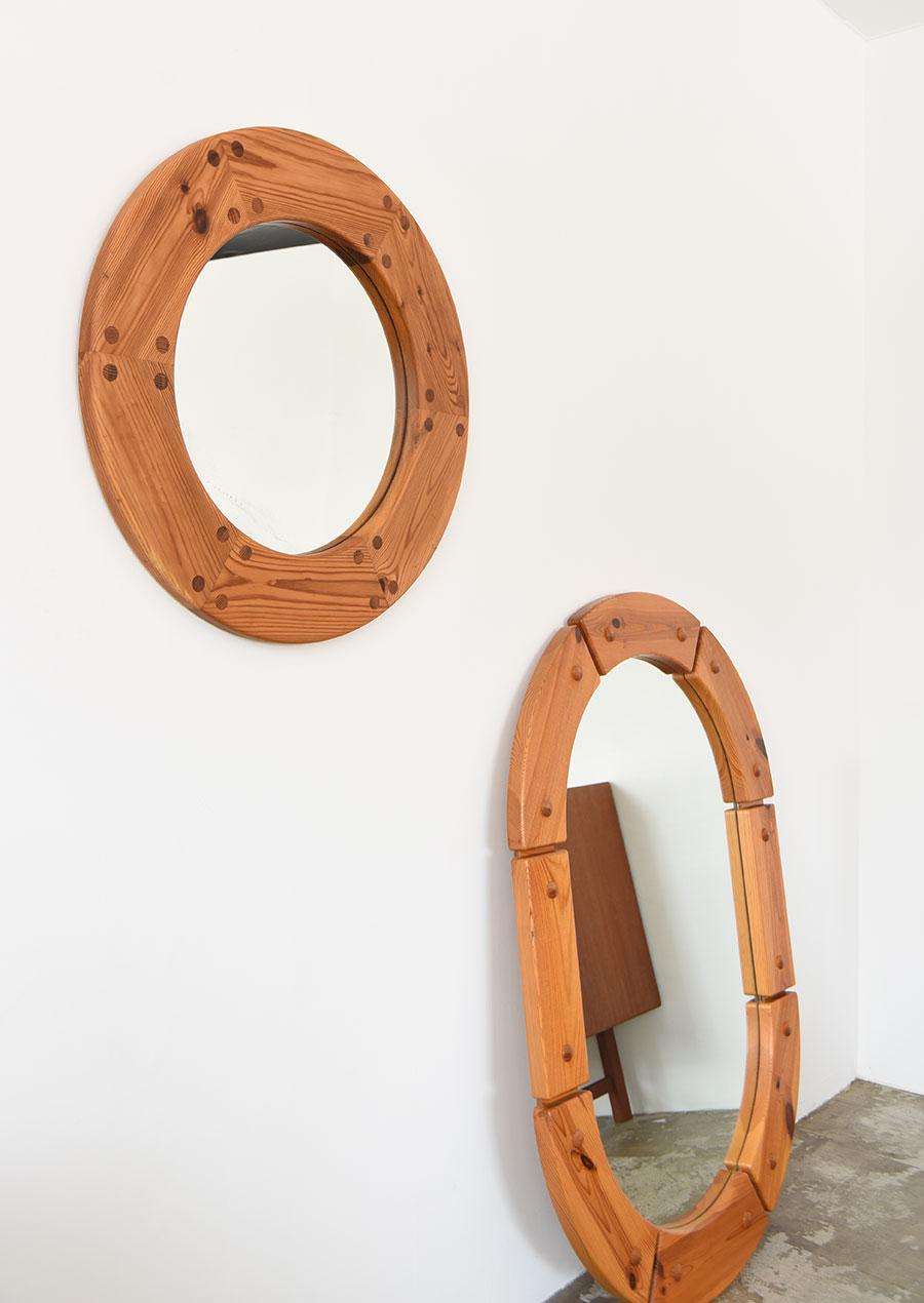 スウェーデン製 パイン材のヴィンテージミラー オーバル 楕円鏡
