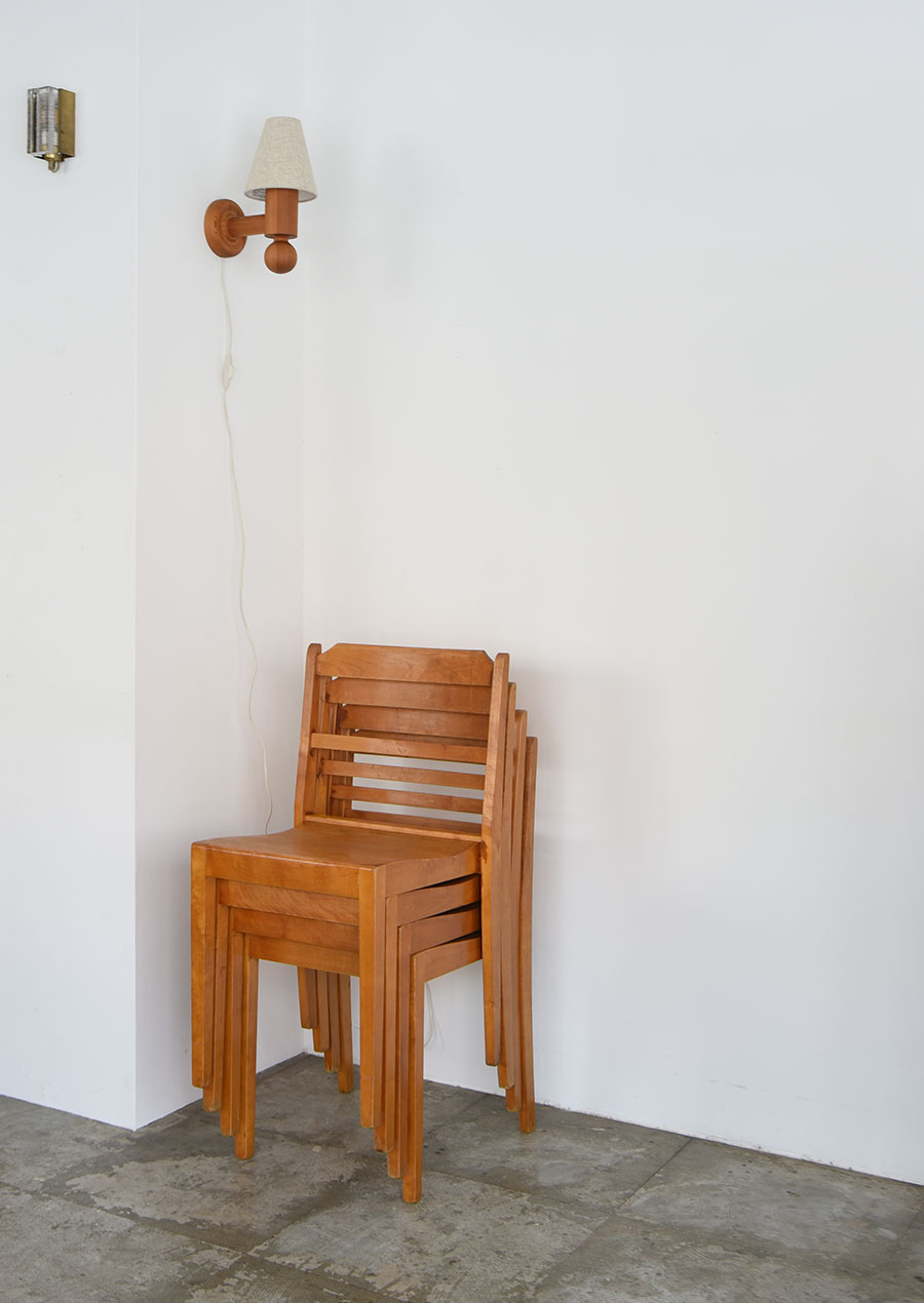 Swedish Stacking Chair in Birch 1960s スタッキングチェア