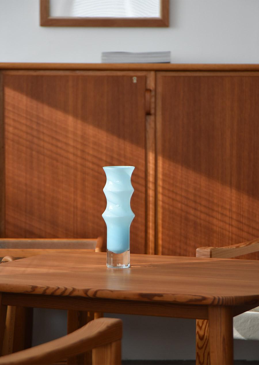 """Bo Borgström """"Bambu"""" Vase Milky Blue Åseda オーセダ 花瓶"""