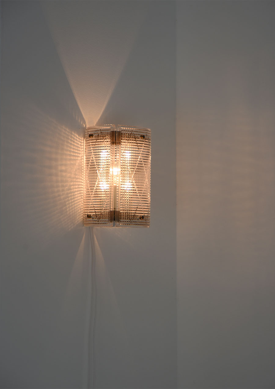 Carl Fagerlund Wall Lamp in Glass and Brass / Orrefors