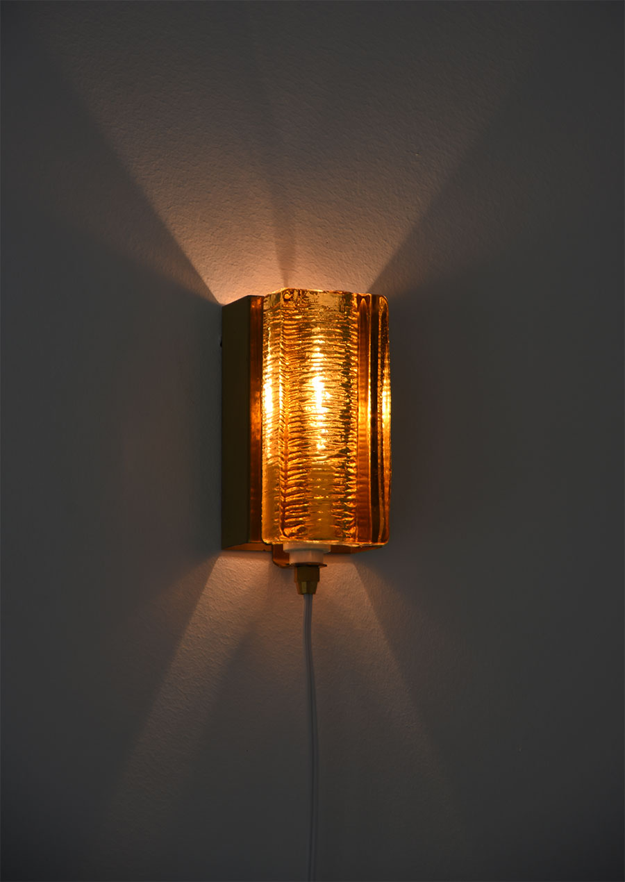 Amber Glass Wall Lamp by Vitrika Denmark